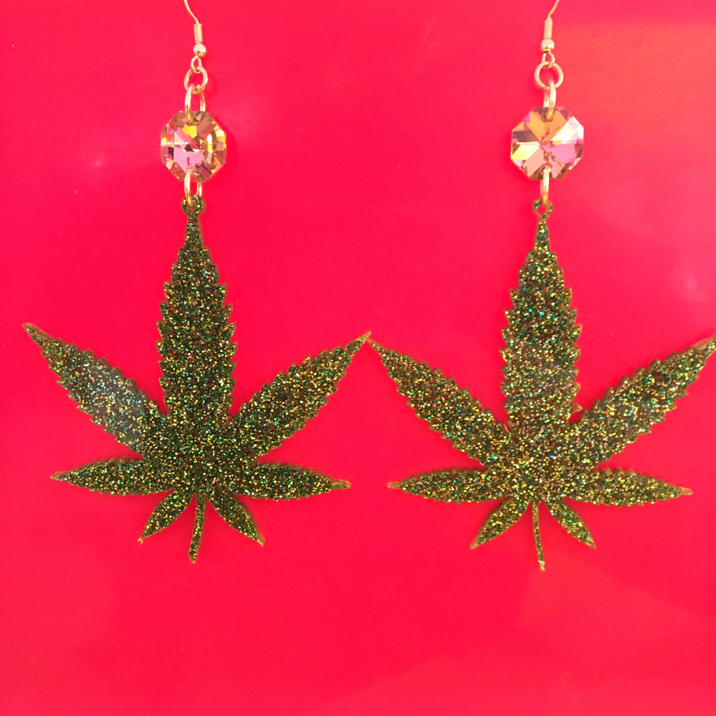 Green Pot Leaf Earrings