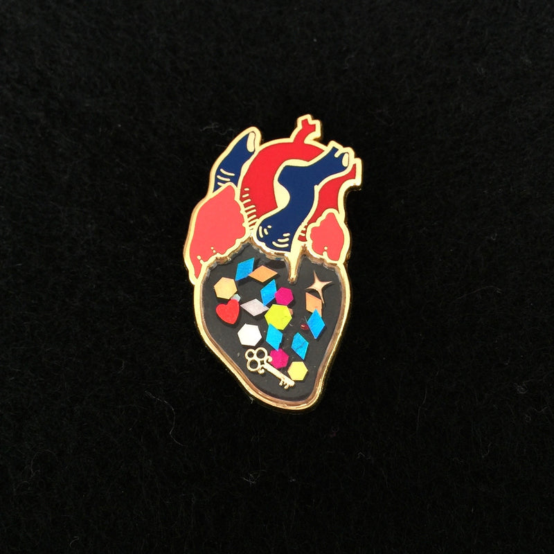Transparent Heart Pin - Love Is The Key