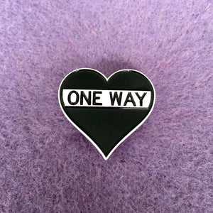One Way Heart Sign Pin