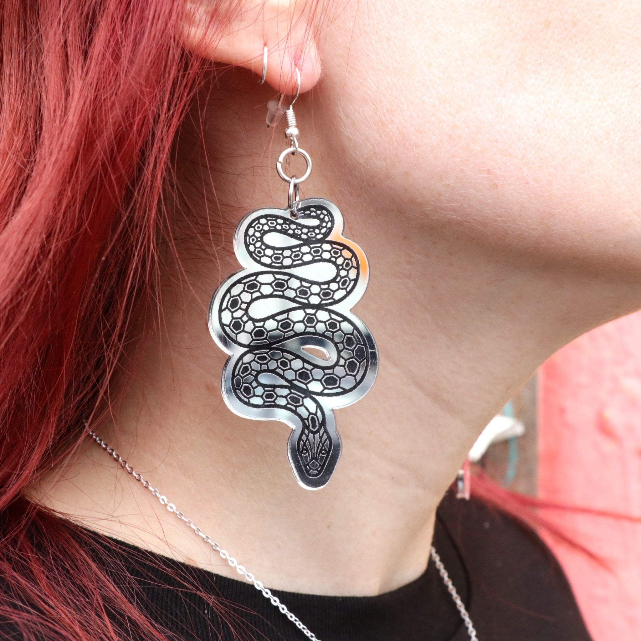 Silver Mirror Snake Earrings