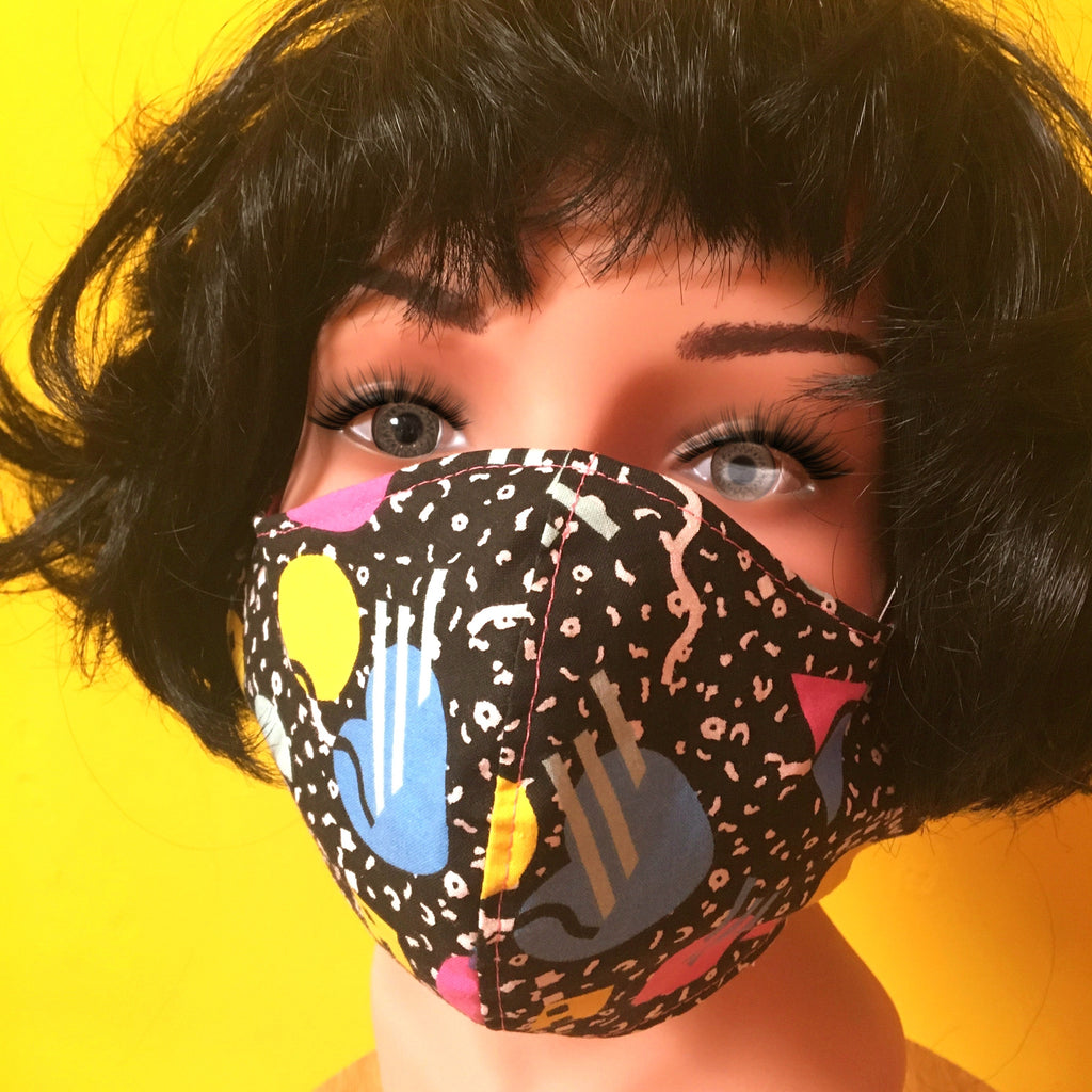 80's Geometric Shapes Face Mask