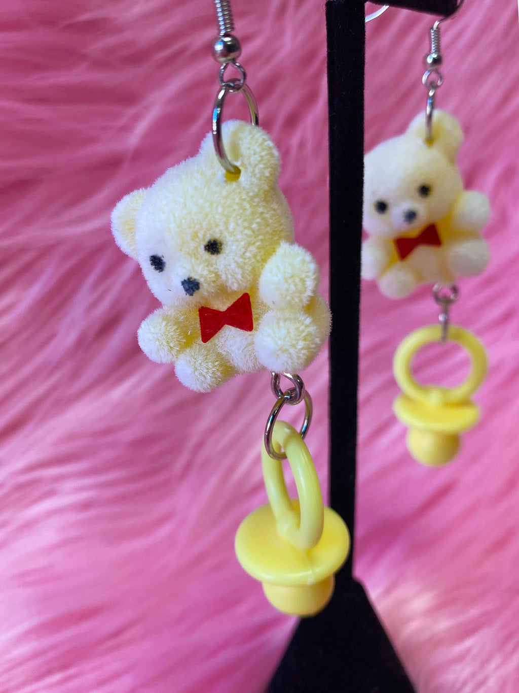 Teddy Bear Pacifier Earrings