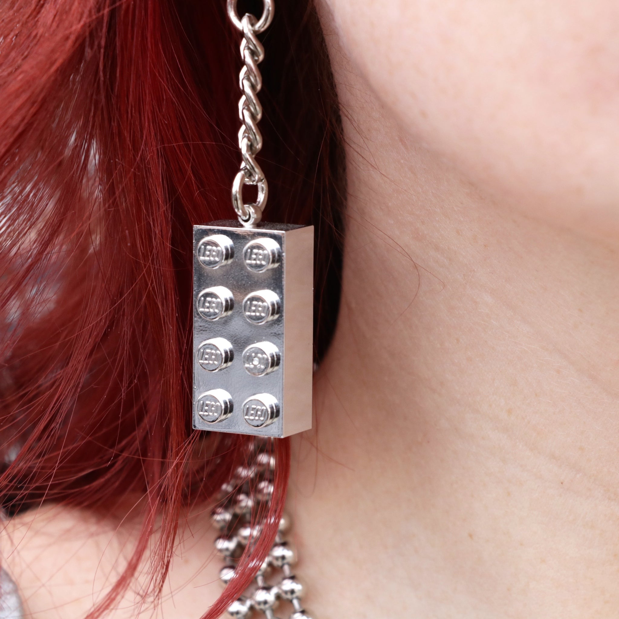 Silver Chrome Lego Earrings