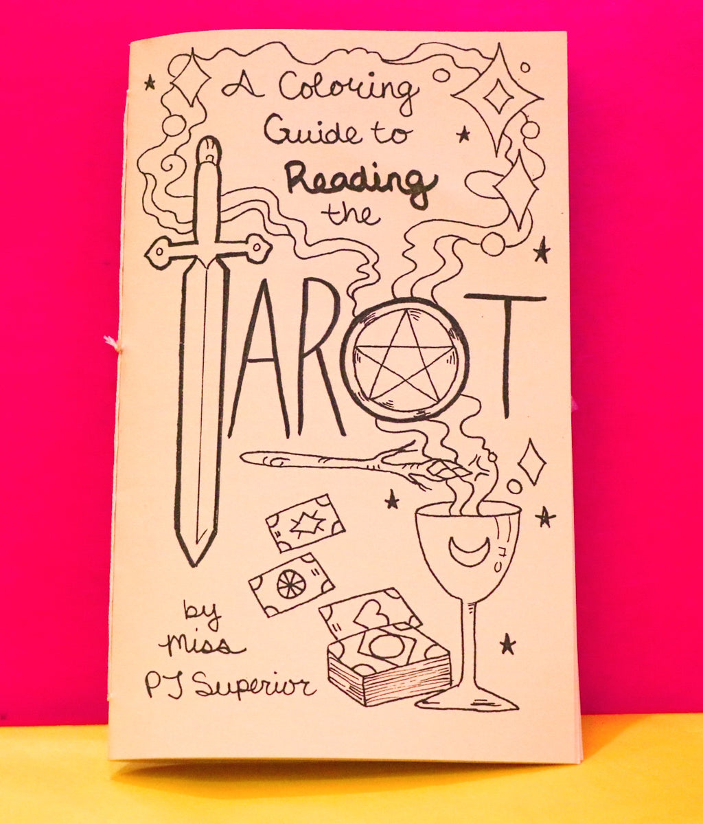 A coloring book guide to reading tarot featuring hand drawn images