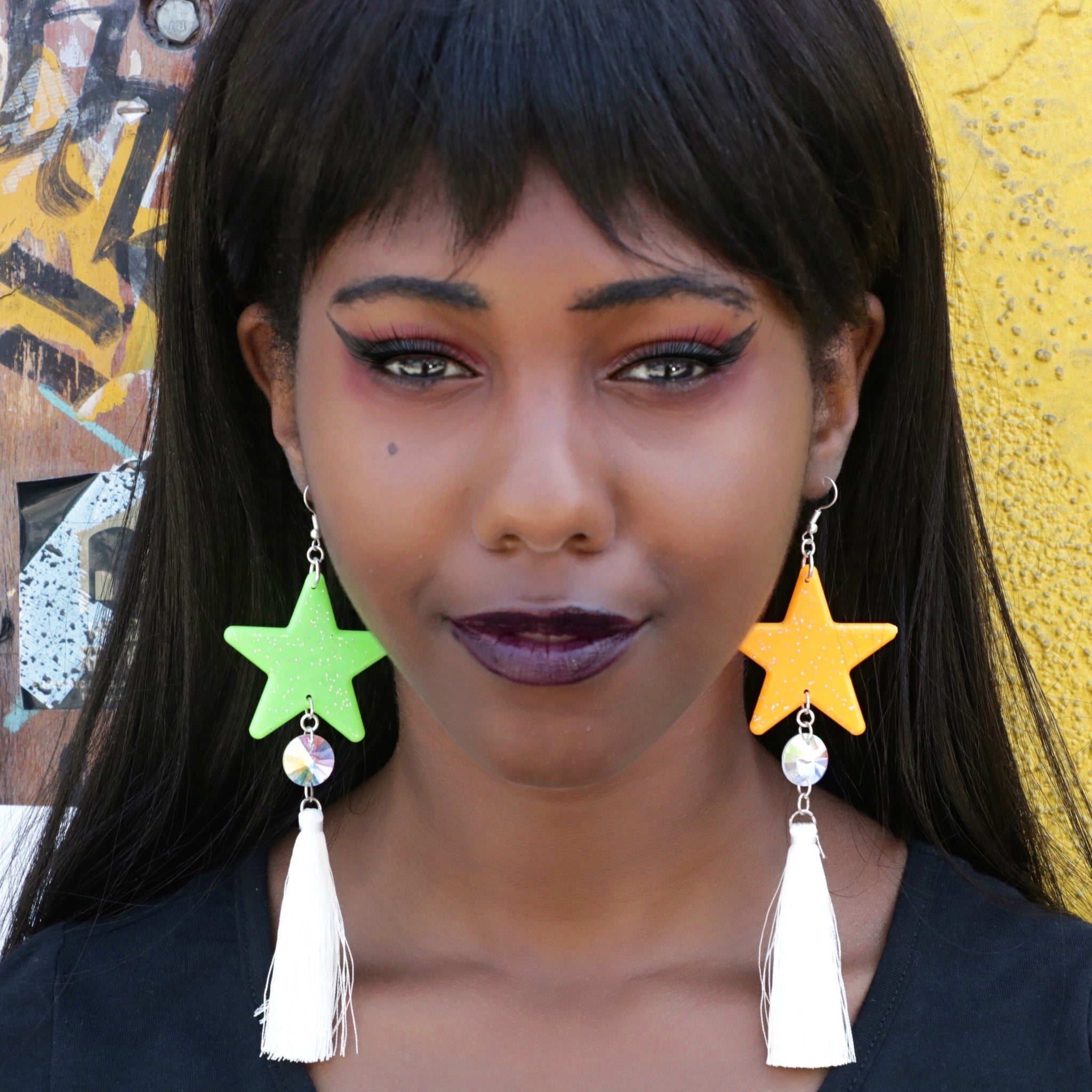 Star Earrings w/ Jewel and Tassel