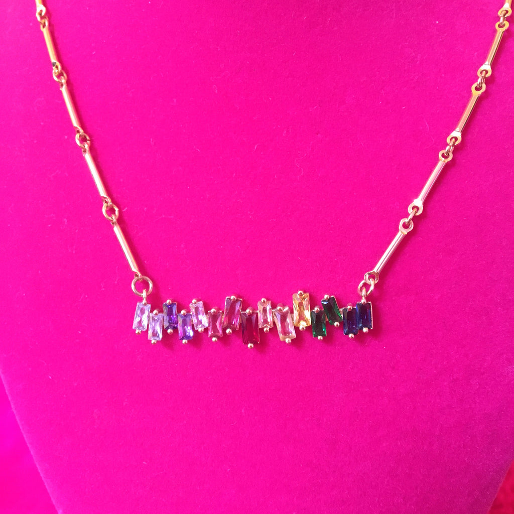 Rainbow Rhinestone Necklace
