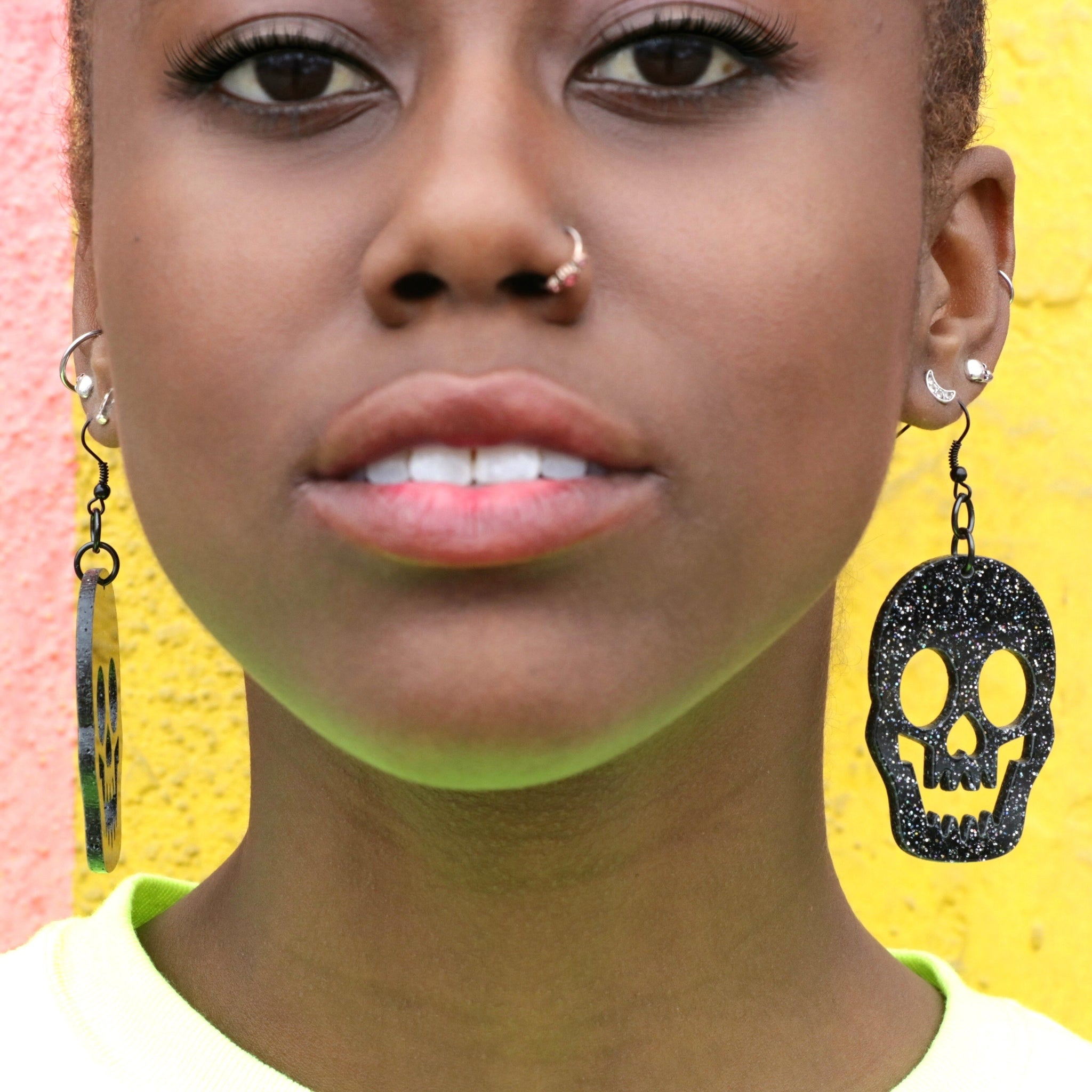 Glitter Skull Earrings