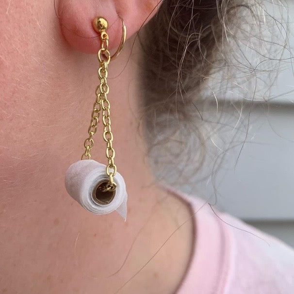 Toilet Paper Dangle Earrings