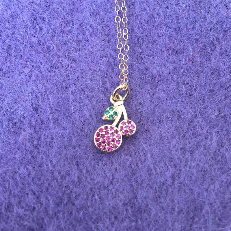 Tiny Rhinestone Cherry Necklace