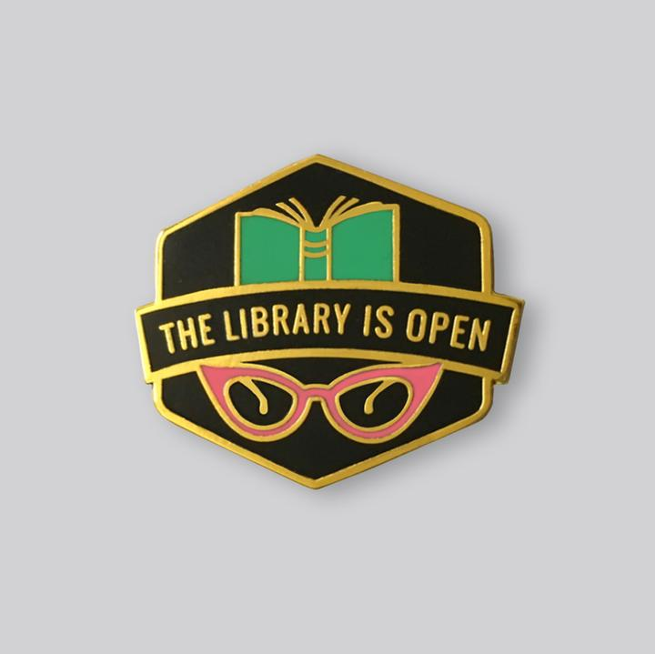 Library Is Open Pin