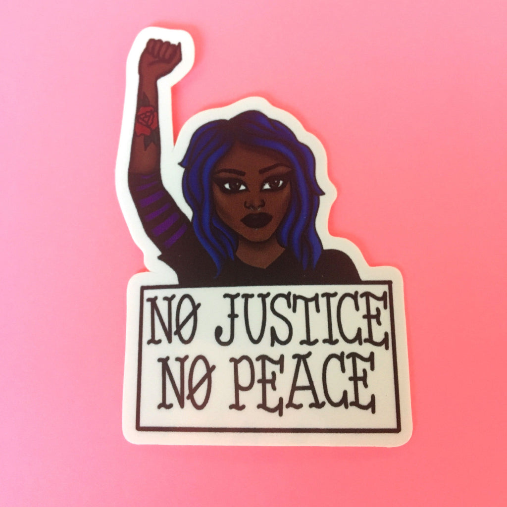 No Justice No Peace Woman Sticker