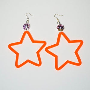 Neon Orange Star Earrings