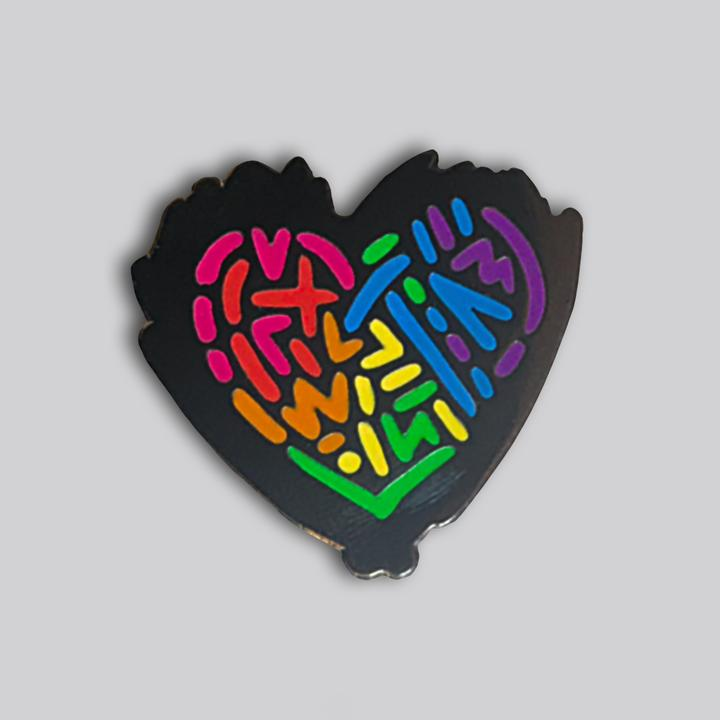 Messy Rainbow Heart Pin