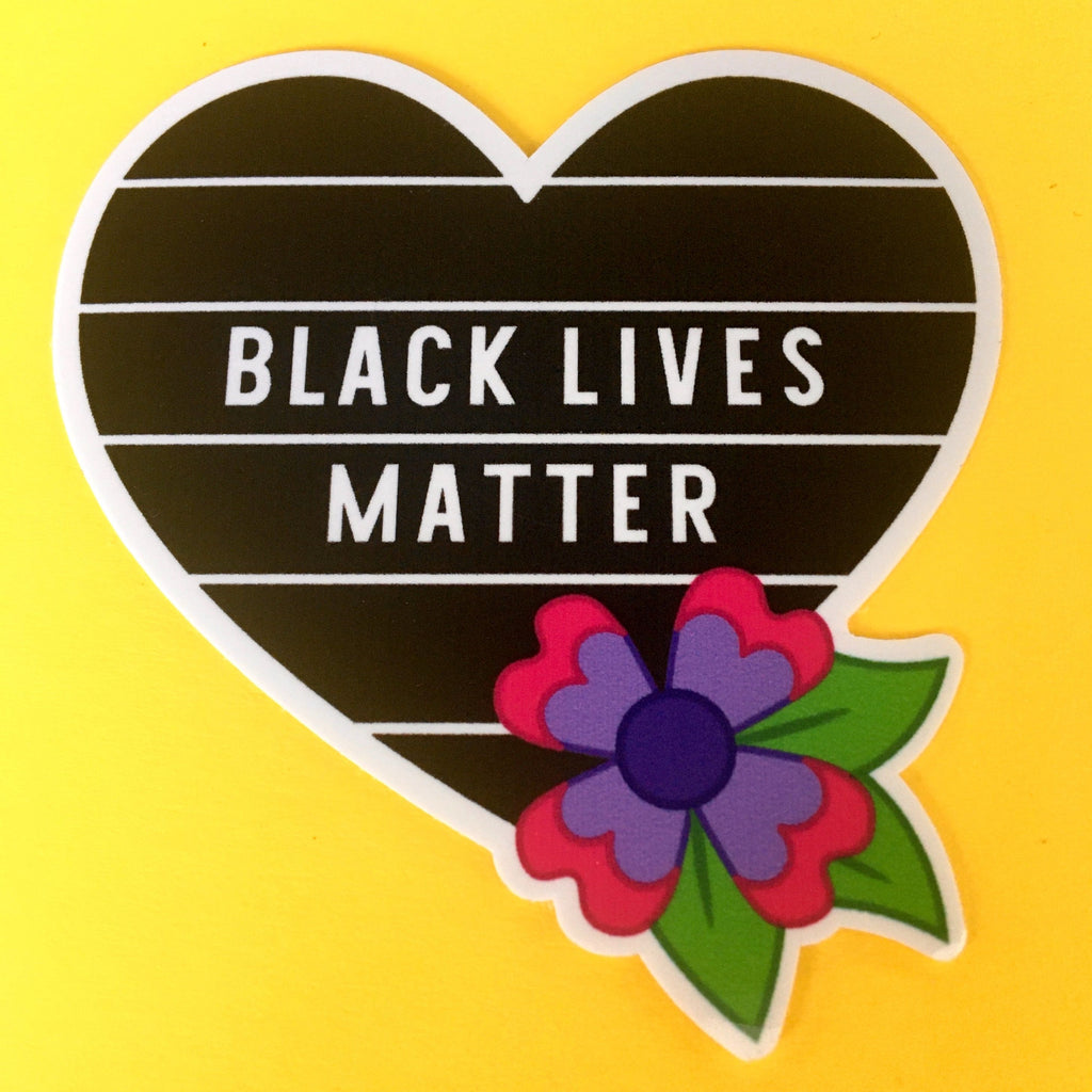 Black Lives Matter Floral Heart Sticker
