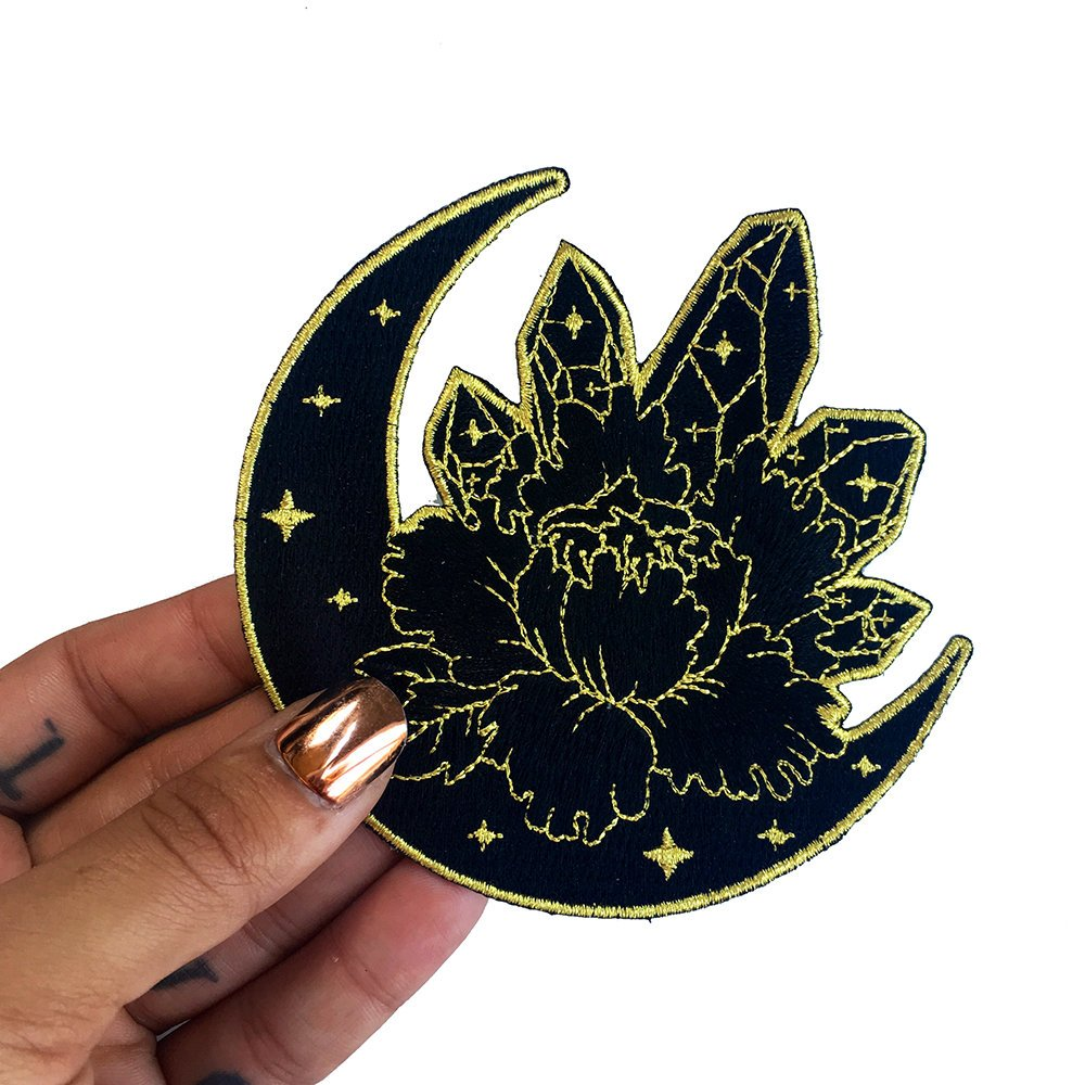 Black And Gold Moon Crystal Patch