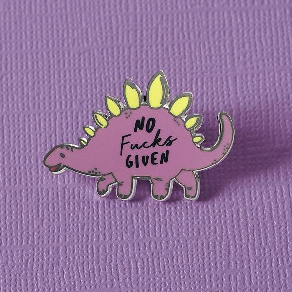 No Fucks Given Dinosaur Pin