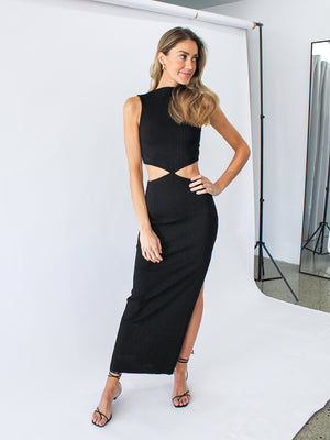 Load image into Gallery viewer, Reba Midi Dress In Black
