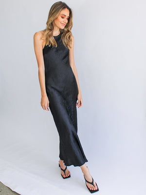 Load image into Gallery viewer, River Bed Bias Maxi Tank Dress in Black
