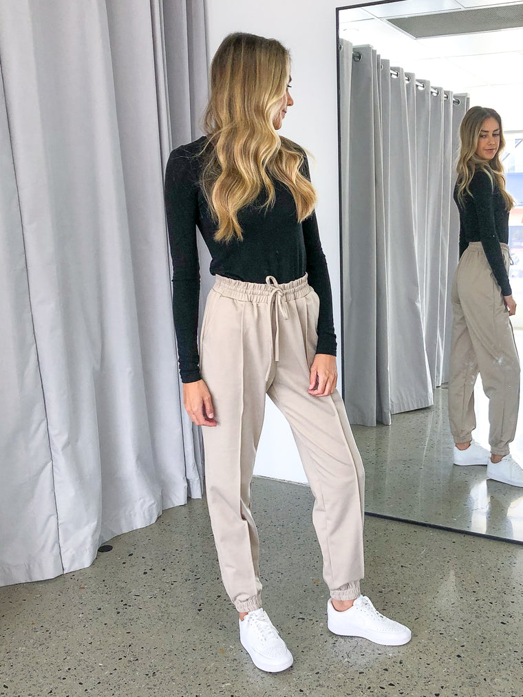 Addison Track Pant in Taupe