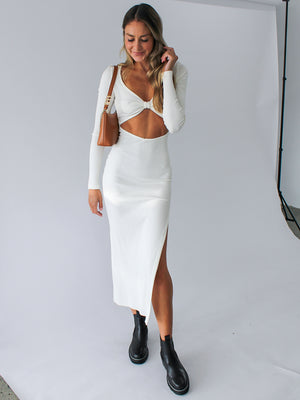 Load image into Gallery viewer, Della Vita Midi Dress In Ivory