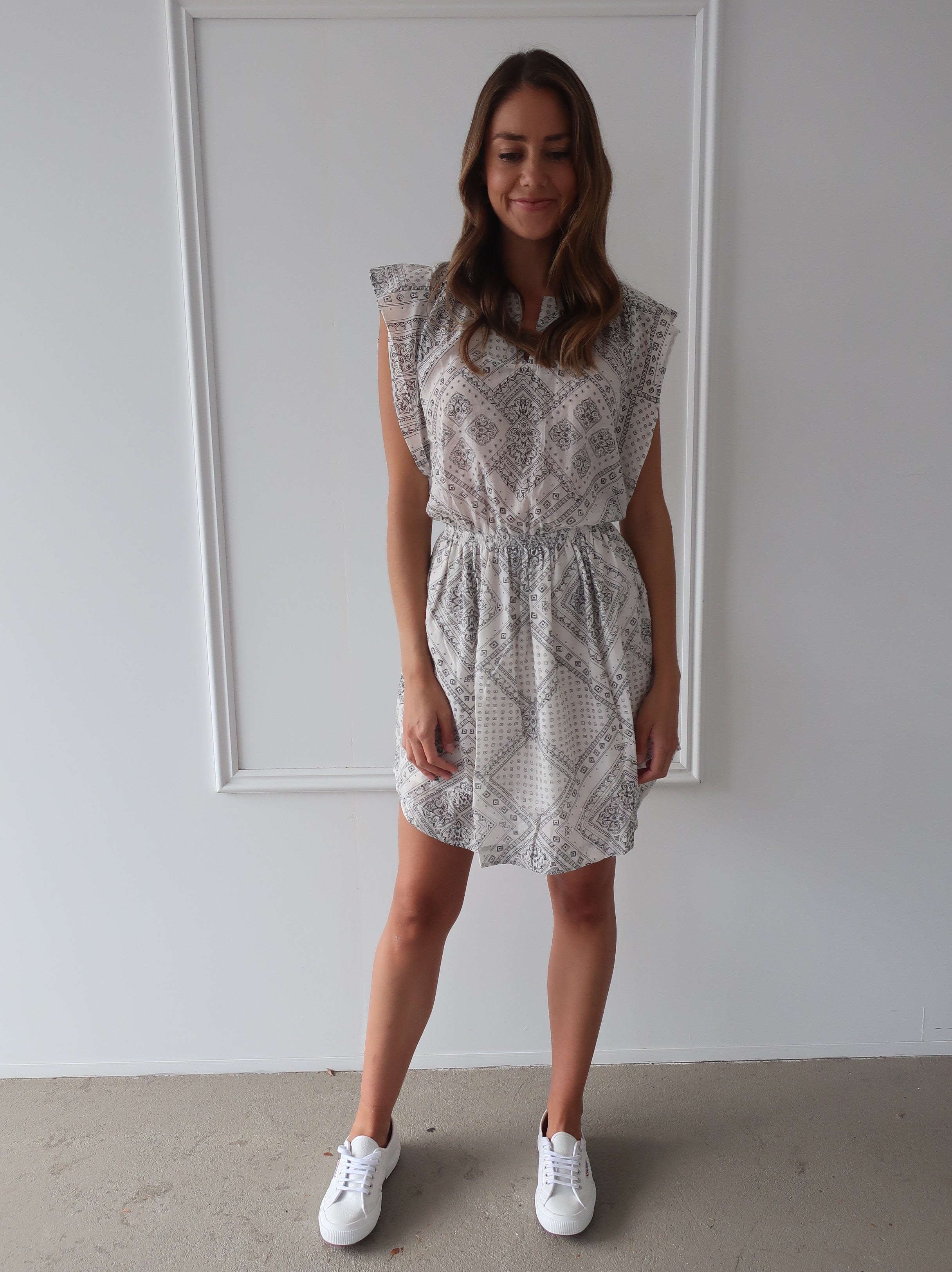 Freda Dress in Bandana Off White