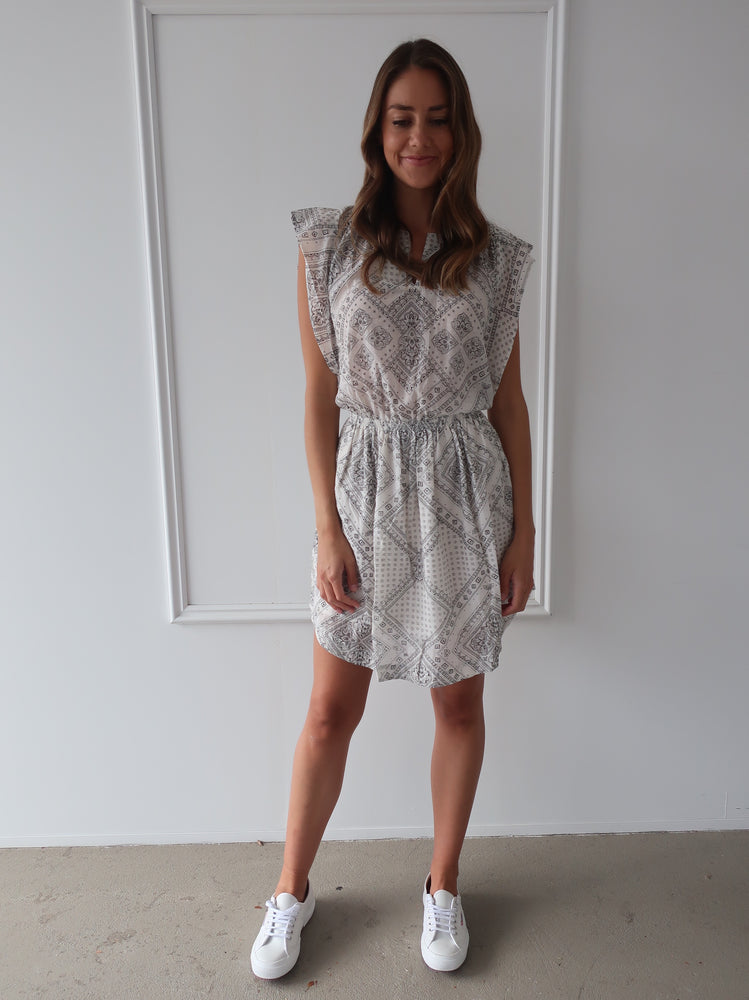 Load image into Gallery viewer, Freda Dress in Bandana Off White