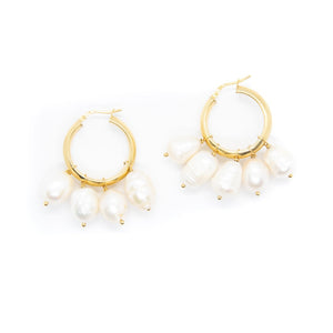 Multi Pearl Hoops In Gold