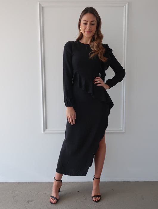 Luca Ruffle Midi Dress in Black