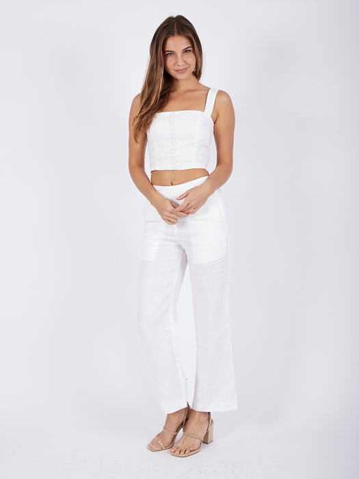 Biarritz Linen Pant in White