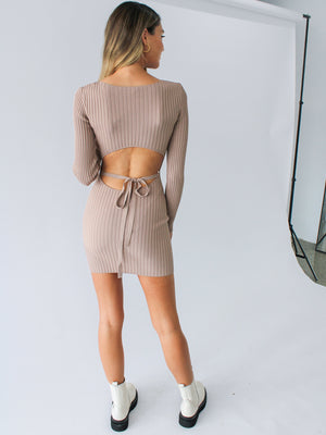 Load image into Gallery viewer, Lyla Knit Mini Dress In Fawn