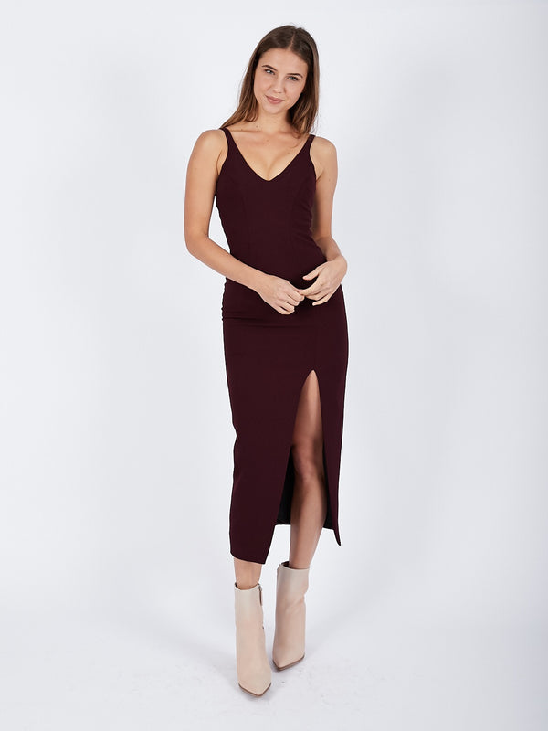 Contour Lines Split Midi Dress In Plum