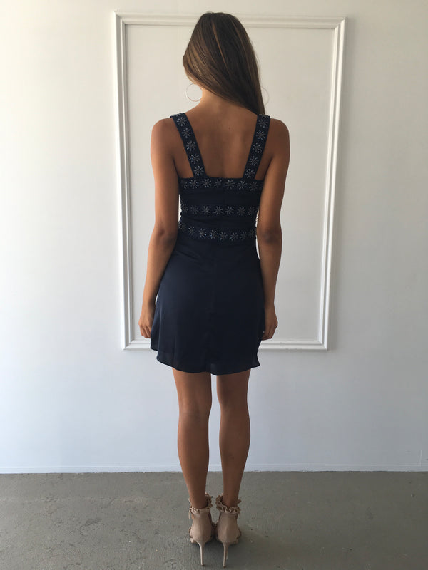 Opal Beaded Mini Dress in Navy