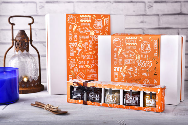 Gift boxes - unique, quirky, classy, packaged food. Great gifts
