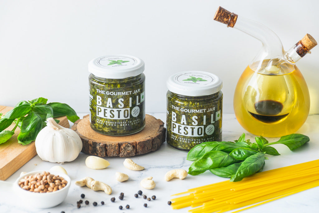 Basil Pesto (with Chironji seeds) - 2 jar combo ((Shipping only in Delhi NCR))