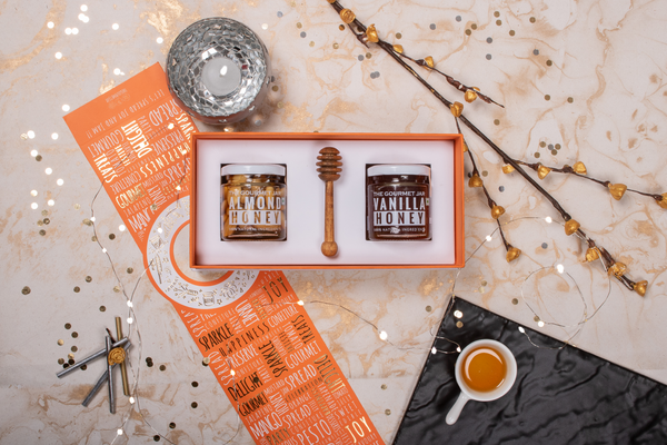 The Bee-Nutty Duo (2 x 140g* Jars of infused honey & 1 x Honey Dipper)