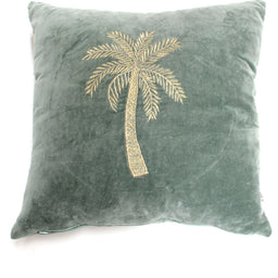 Cushion Cover - Palmtree - Velvet Green with fillings