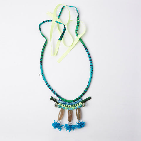 Necklace - Sautoir Apache Beads XL - Blue Pom Pom