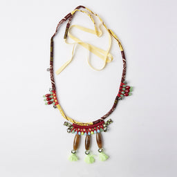 Necklace - Sautoir Apache Beads XL - Yellow Pom Pom
