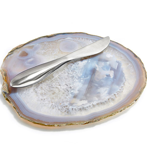 Cheese Platter with Spreader - Ita - Smoke + Silver Spreader
