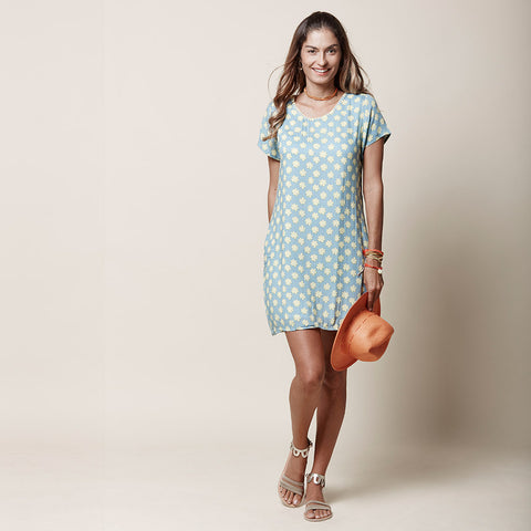 T-Shirt Dress - Flower print - Celadon