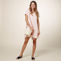 T-Shirt Dress - Gingham - Peach