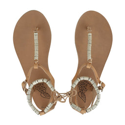 Chrysso Column Beads Sandals - Natural