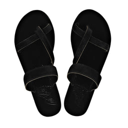 Daphnae Slippers - Calf Hair - Black
