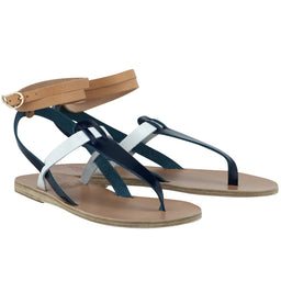 Estia Sandals - Blue / White / Natural