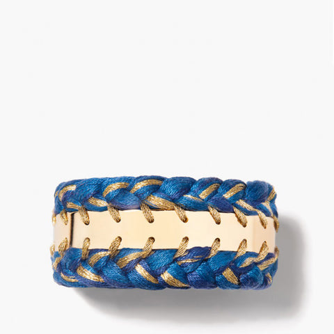 Copacabana double bracelet - Denim brut / Yellow gold