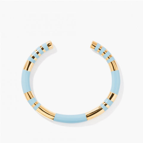 Positiano striped bangle - Light blue / Yellow gold