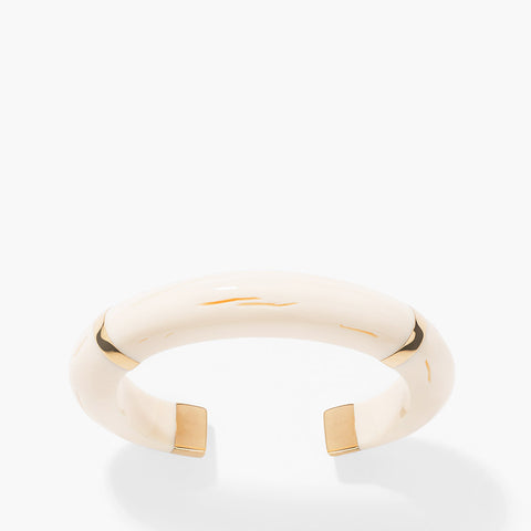 Caftan Moon Bangle - Ivory / Yellow golg