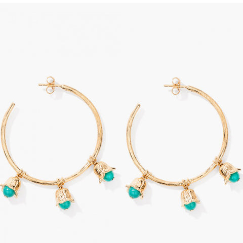 Lily Of The Valley Hoop Earrings - Turquoise / Yellow gold