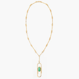 Angelica Long Necklace - Turquoise / Yellow gold
