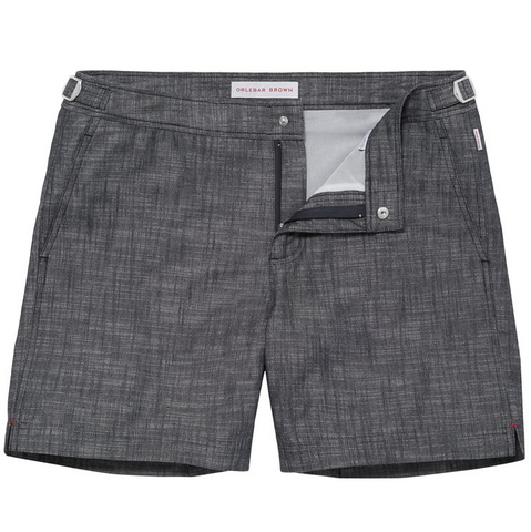 Bulldog Swim Shorts - Cotton Mid-Length - Chambray
